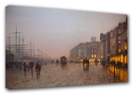 Grimshaw, John Atkinson: Liverpool Docks from Wapping. Fine Art Canvas. Sizes: A3/A2/A1. (003231)